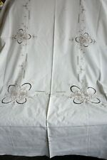 Cream Table cloth with beautifully machined embroidery