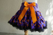 Girls Purple Pumpkin Halloween Pettiskirt Size Newborn Fits 0-3 Months