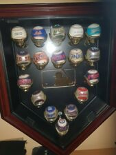 major league baseball display cabinet with gold plated glove hands and balls
