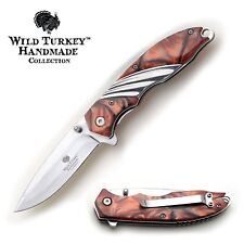 Wild Turkey Handmade Two Tone Quick-Open spring assist folding pocket knife