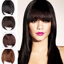 UK Clip on Clip in False bangs fringe hair extension 100% real natural bang qz92
