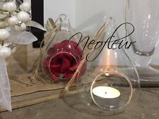 6 Clear Glass hanging teardrop pear bauble tealight candle holder. UK SELLER