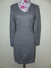 Neues Alba Moda Winter Damen Woll Strick Kleid Gr 36 Grau Zopfmuster NEU/OVP