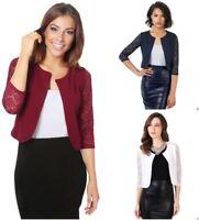 New Womens ¾ Lace Sleeve Cropped Ladies Cardigan Bolero Shrug Jacket Party UK