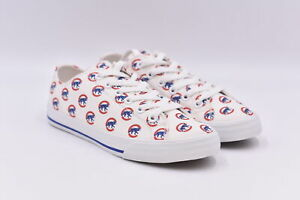 Women's Row One Fashion Canvas Sneakers w/ All Over Logo, White, 6.5