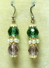 bead earrings - match 30s necklaces Art Deco facetted suffragette coloured glass