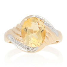 2.50ct Oval Citrine Ring - 10k Yellow Gold Bypass with Diamond Accents
