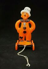 Rare Vintage 1950's Rosbro Halloween Zook the Clown on Wheels Pull Toy
