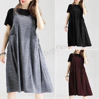 Women Summer Sleeveless Tank Dress Casual Long Shirt Dress Plus Sundress Plus
