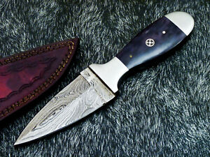 """Authentic HAND FORGED DAMASCUS 8.0"""" DAGGER KNIFE - STAINED BONE HANDLE - WD-2266"""