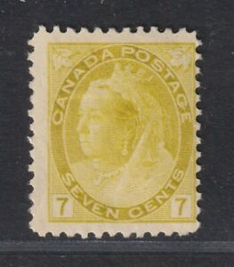 Canada Scott 81 VG/F LH 1902 7¢ Olive Yellow Victoria Numeral Issue SCV $140