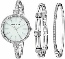 NWOT Anne Klein Womens AK/2847SVST Silver Tone Crystal Accented Watch Bangle Set
