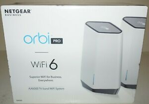 New NetGear Orbi Pro SXK80-100NAS AX6000 Tri-Band WiFi 6 Router System
