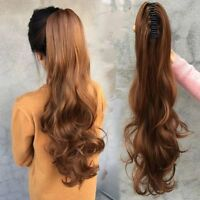 15-26inch Wave Claw Clip On Ponytail 100% Real Human Hair Extension black blonde