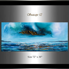 Extra LARGE PAINTING Blue Ocean Abstract Art Original Oil Painting by Maitreyii
