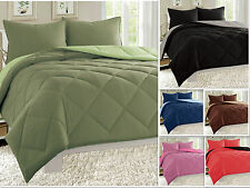Reversible Comforter Set Down Alternative 3-Piece Bedding Super SOFT - 11 Colors