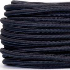 Textilkabel für Lampe, Textilummanteltes Rundkabel, dreiadrig 3x0,75mm², Schwarz