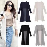 Women Chiffon Long Sleeve Modal Splcing Long Cardigan Maxi Dress Jacket Coat