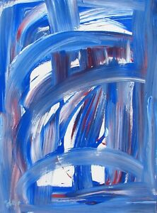Modernist ABSTRACT PAINTING Expressionist MODERN ART RED WHITE & BLUE FOLTZ