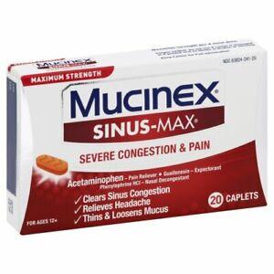 MUCINEX SINUS-MAX SEVERE CONGESTION & PAIN MAX STRENGTH 20 CAPLETS EX 9/22+ #H4