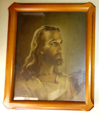 Head of Christ Framed Litho Print Wall Decor Warner Sallman 1941 8x10 Kriebel