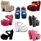 WOMENS LADIES HIGH HEEL PLATFORM CHUNKY BLOCK WEDGE PARTY STRAPPY SANDALS SHOES
