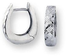 Bright Cut Huggies 14k White Gold Reversible Hoop Earrings