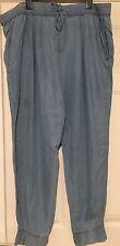 Ladies Cuffed Light Denim Style Hareem Trouser Size 24 Bnwt