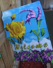 Welcome Decorative Floral Garden Flag