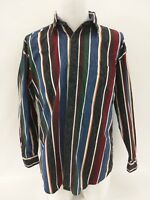 Perry Ellis Color Block Mirage Striped Long Sleeve Shirt Mens Size Medium