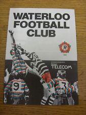 07/09/1985 Rugby Union Programme: Waterloo v Richmond [Merit Table] (folded, tea