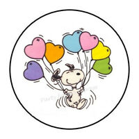 30 SNOOPY HEART BALLOONS ENVELOPE SEALS LABELS PARTY FAVORS STICKERS 1.5""