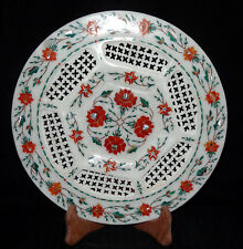"11"" Marble Plate Handmade Inlaid Floral Design Mosaic Kitchen Decorative Gifts"