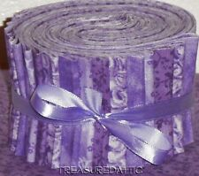 """Jelly Roll Strips Quilting Fabric 20~2.5"""" Lavender Purple Pastel Mix 100% Cotton"""