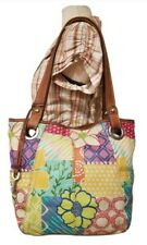 FOSSIL PAINTED FLORAL LEATHER SHOULDER HAND BAG MULTICOLOR EUC