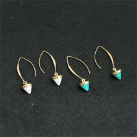 Fashion Women Inlay Gold Plated Turquoise Natural Stone Earrings Hoop Dangl S!