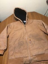 CARHARTT  Brown Hooded Lined Chore Work Barn Jacket Youth Size L  14-16