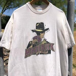 VTG 90s Maverick Warner Bros 1994 Mel Gibson Jodie Foster Movie Promo T Shirt L