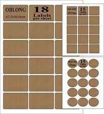 Brown Parcel Lined Kraft Paper Self Adhesive Sticky Printer Labels Inkjet Laser