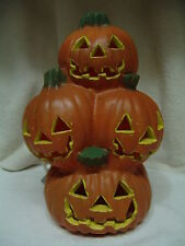 HALLOWEEN 4 PUMPKINS STACKED LIGHT W/CUT OUT FACES 11 INCHES TALL FREE SHIPPING