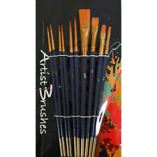 10 x Synthetic Art & Craft Paint Brushes Set for Acrylic, Watercolour, Oil