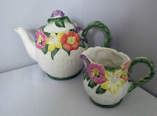 FITZ & FLOYD CHINA POTTERY TEAPOT AND CREAMER OMNIBUS MOLDED FLORAL 1995