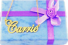 PERSONALIZED GOLD PLATED CARRIE STYLE ANY NAME PLATE NECKLACE    * US SELLER