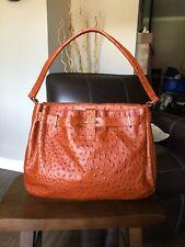 Furla Burnt Orange Ostrich Embossed Leather hand bag