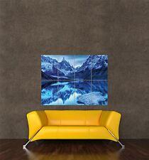 Poster Foto impresión de paisaje de montaña Nieve Lago reflexión Invierno seb764
