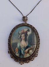 Antique Miniature Necklace Pendant Italian Silver Filigree Cannetille Portrait