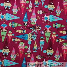 BonEful Fabric FQ Cotton Quilt Pink Blue Purple Green GNOME Flower Leaf S Garden