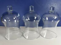 """Lot of 3 Vtg Peg Votive Candle Holder Wall Sconce Clear Globe Glass 5.25"""" Homco"""