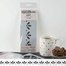 Stencil MiNiS - Leaf & dots border, stencils for furniture - The Stencil Studio