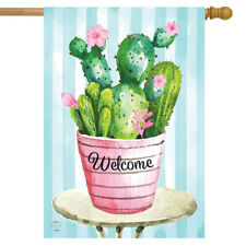 "Cactus Bouquet Spring House Flag Welcome Floral 28"" x 40 Briarwood Lane"